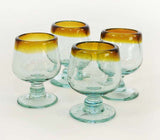 Set of 4, Brandy Shaped Tequila Sippers-2-3 oz, Amber Rim
