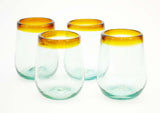 Set of 4, Amber Rimmed Stemless Wine Glasses-16 oz. Mexico