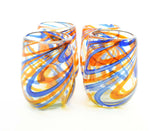 Set of 4, Blue and Orange Swirl Stemless Wine Glasses-16 Ounces
