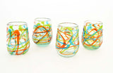 Set of 4, Green, Aqua & Orange Swirl Pattern. Stemless Wine Glasses, Approx. 16 Ounces, Recycled Glass