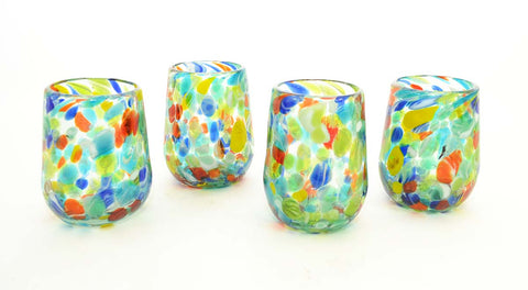 Set of 4, Carnival Confetti Stemless Wine Glasses-16 oz. Mexico