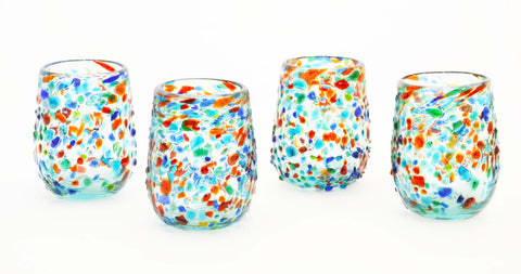 Set of 4, Multi-Colored Bumpy Confetti Stemless Wine Glasses-16 oz. Mexico