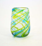 Set of 4, Aqua and Lime Swirl Stemless Wine Glass-16 oz. Handmade Mexico