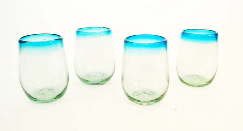 Set of 4, Aqua Rimmed Stemless Wine Glasses-16 Ounces, Mexico