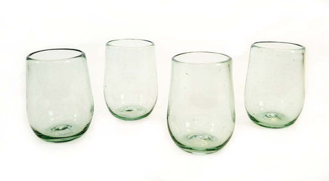Set of 4 Recycled Clear Stemless Wine Glasses-16 Ounces, Mexico