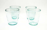 Set of 4, Handmade Mexican Recycled Clear Tapered Rocks Glasses, 4.25 Inches H, 14-16 oz