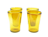 Set of 4, Handmade Mexican Amber Pint Glasses, Recycled Glass-5 Inches H, 16 oz