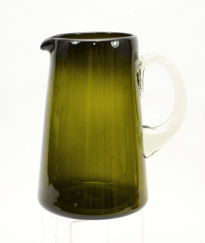 Handblown Recycled Classic Pitcher, Olive Green- 8.5 Inches High