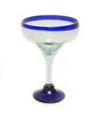 Set of 4, Blue Rim Margarita Glasses, Recycled Glass-14-16 Ounces