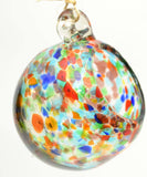 Hanging 4 Inch Glass Confetti Bird Seed Ball. Has 3 Feet of Twine.