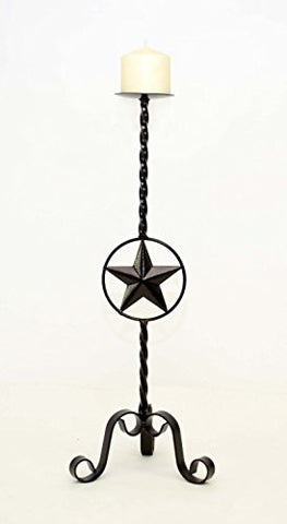 Wrought Iron Star Candle Holder, Large- 22 Inches High