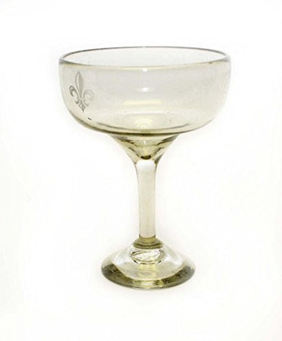 Set of 4, Clear Margarita Glasses with Etched Fleur De Lis, Recycled Glass-14 oz.