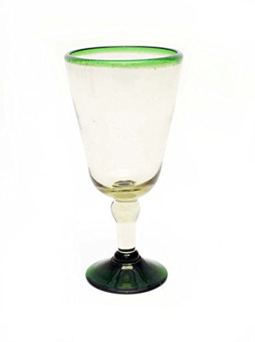 Set of 4, Recycled Glass, Green Rimmed Water Goblets-14 Ounces