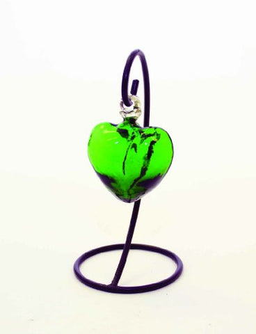 "Handmade Green Color Glass Heart with Stand-7""H."