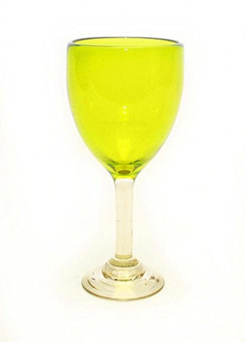 Set of 4, Mexican Recycled Wine Glasses, Lemon Lime Color-14 Ounces
