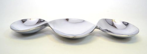 Aluminum 3 Section, Bow Shaped Snack Dish-16.5 Inches Long