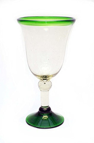 Set of 4, Green Rimmed Wine Goblets, Bell Shaped-12 Ounces