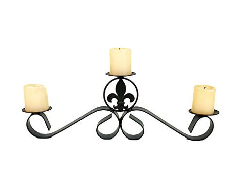 Wrought  Iron 3 Pillar Centerpiece, Fleur De Lis Design Candle holder-21 Inches Long