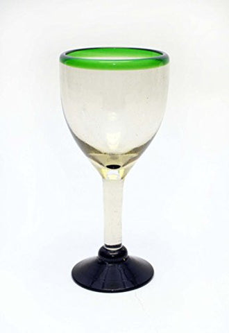 Set of 4, Green Rimmed Wine Glasses, Recycled Glass-14 Ounces