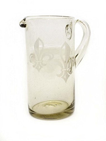 Etched Fleur De Lis Straight Pitcher-80 Ounces. Recycled Glass.