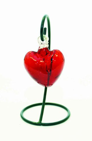 "Handmade Red Color Glass Heart with Stand-7""H."