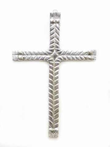 "Polished Aluminum Double Lasso Wall Cross-14""H."