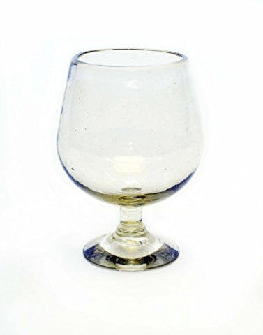 Set of 4, Clear Cognac Glasses, Recycled Glass- 10-12 Ounces
