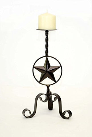 Handmade Wrought Iron Small Candle Holder, Star Design-14 Inches High