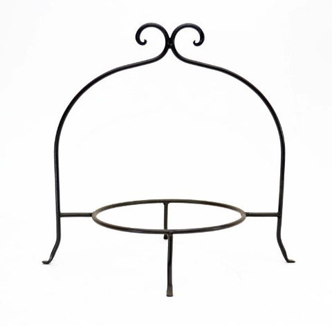 "Handmade Wrought Iron Single Tier Plate Rack-12""H x  8""D."