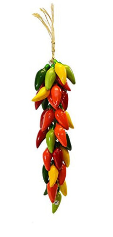 Small Ristra/ String of Ceramic Jalapeno Peppers, With 35-40 Peppers, 21 Inches Long.