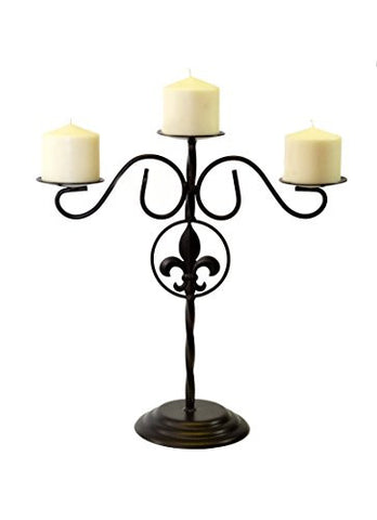 Fleur de Lis Triple Pillar Candelabra-16.5 Inches High x 15 Inches Wide