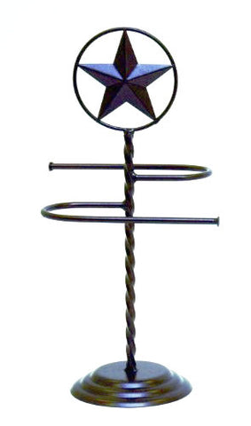 "Iron Bath Towel Stand, S Shaped and Star Design-17""H."