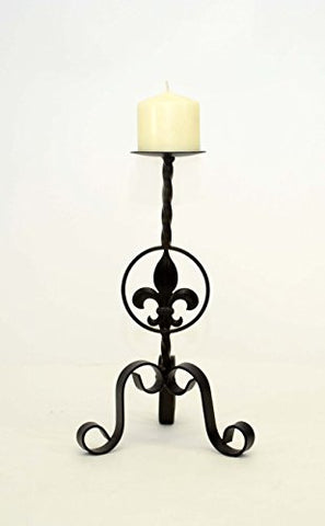 Wrought Iron Fleur de Lis Candle Holder, Small-14 Inches High