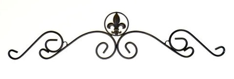 "Wrought iron Over Door Header, Fleur de Lis Design-36""L X 8""H."