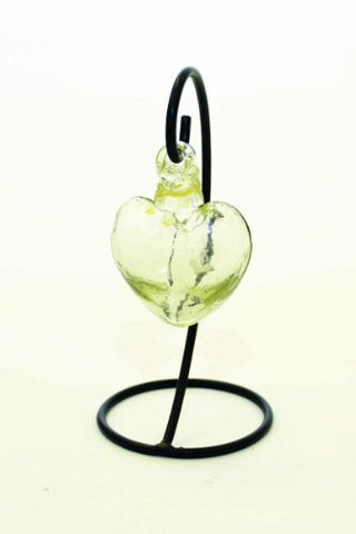 "Handmade Clear Color Glass Heart with Stand-7""H."
