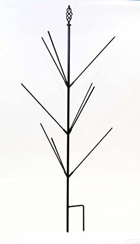 Wrought Iron Bottle Tree Stake, Holds 9 Bottles- 48 Inches High