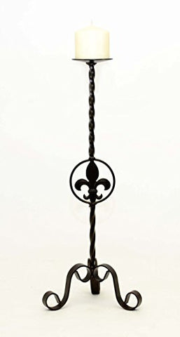 Wrought Iron Fleur De Lis Candle Holder Large- 22 Inches High