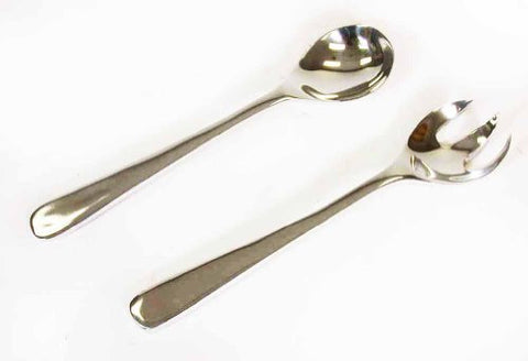 "Polished Aluminum Salad Serving Set, Spoon & Fork-12.75""L."