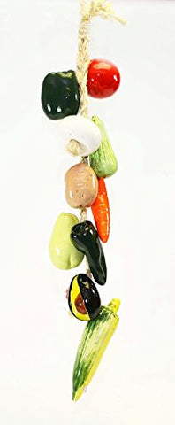 Large Ristra/ String of Ceramic Vegetables, with 11 Veggies, 30 Inches Long