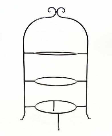 Wrought Iron Triple Tier Plate Rack-22.5 Inches High, 8 Inch Rings