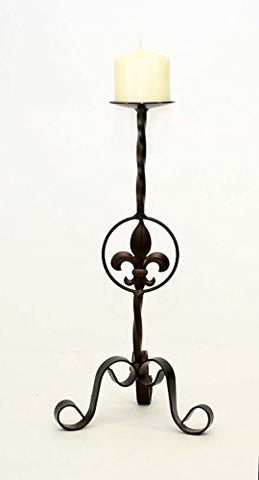 Wrought Iron Fleur De Lis Candle Holder Medium-18 Inches High