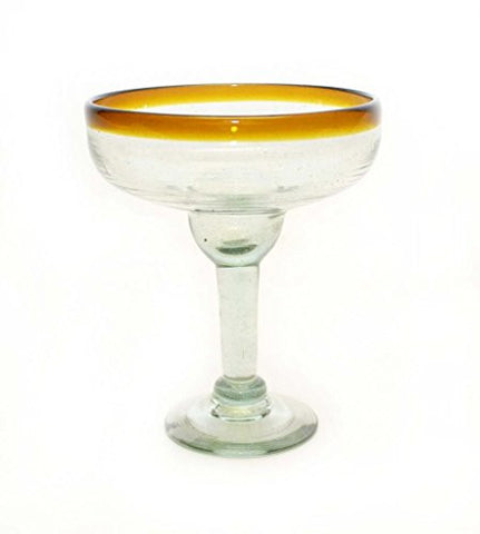 Set of 4, Amber Rim Margarita Glasses, Recycled Glass-14 Ounces