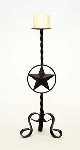 Wrought Iron Star Candle Holder, Medium-18 Inches High