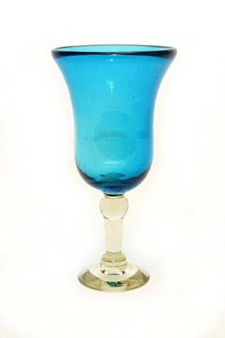 Set of 4, Aqua Wine Goblets,Bell Shaped-12 Ounces. Recycled Glass