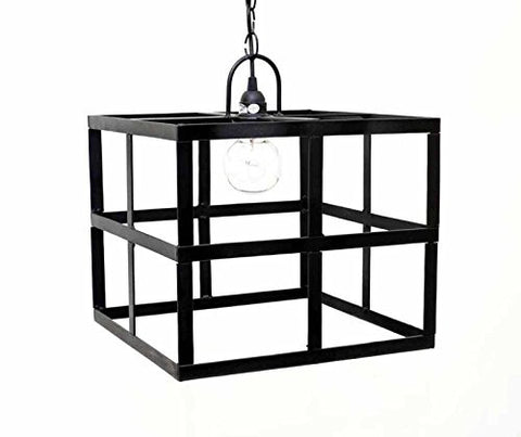 Square Frame Hanging Lamp, with Socket set and 3 Feet of Chain- 12 Inches High x 14 Inches Wide