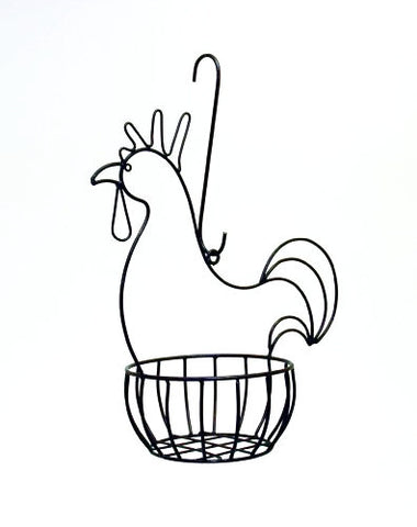 Handmade Iron Hanging Rooster Basket-20 inches high x 19 inches wide.