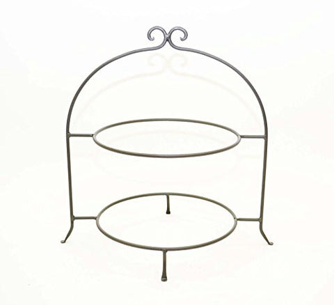 Buffet Large Platter Holder, Double- 20.5 Inches High. Steel Gray Color.