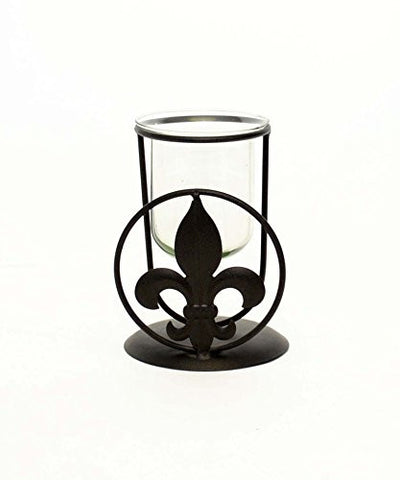 "Fleur de Lis Votive Holder with Glass Insert-6""H."
