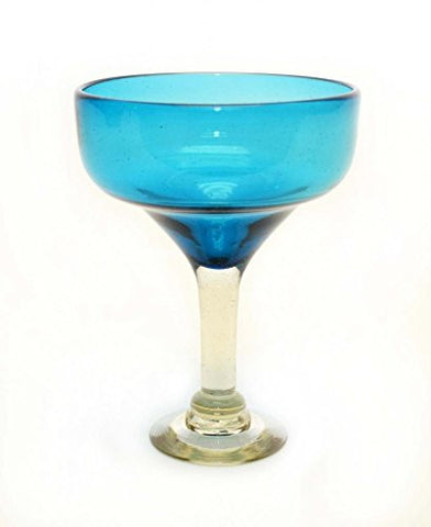 Set of 4, Aqua Margarita Glasses, Recycled Glass-14 OZ.