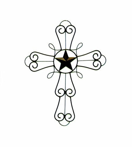 Iron Wall Cross with Star Symbol, Decorative Design-20 Inches High x 15 Inches Wide